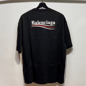 발렌시아가 웨이브로고 티셔츠 블랙